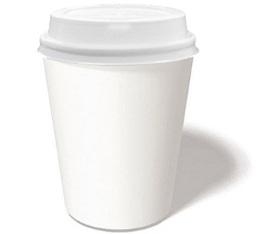 50 gobelets caf� carton blanc 12 cl + couvercles