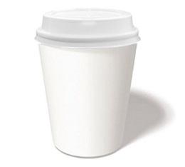 100 gobelets café carton blanc 25 cl + couvercles