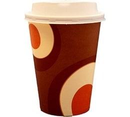 100 gobelets caf� carton couleur marron 35 cl  + couvercles