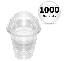 1000 gobelets transparents 36cl + couvercles bomb�s
