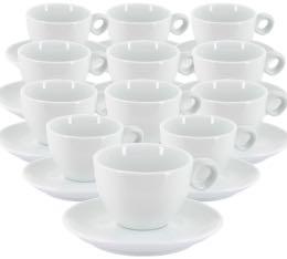 Tasses et sous tasses blanches  - 20 cl X 12