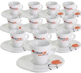 Lot de 12 Tasses et sous-tasses expresso 5cl en porcelaine blanche - Cosma� Caff�