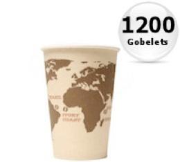 1200 gobelets en carton Monde - 25cl