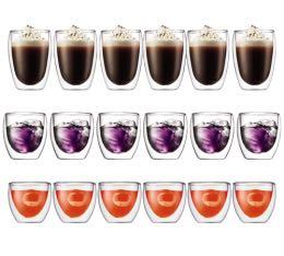 18 verres double paroi BODUM PAVINA  8cl + 25cl + 35cl