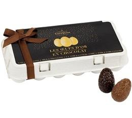 Bo�te de 18 oeufs en chocolat (Noir/Lait et Sp�culoos) - 235gr - Caf� Tasse