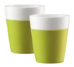 2 mugs Bistro en porcelaine avec bande silicone verte 30cl - Bodum