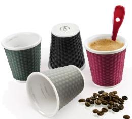 4 tasses en porcelaine avec bandeau silicone color�s nids d'abeille 10cl - Les Artistes Paris
