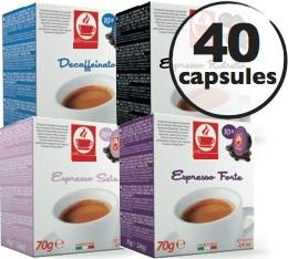 Pack d�couverte - 40 capsules compatibles Lavazza a Modo Mio� (Deca, Seta 100% Arabica, Ristretto, Forte)
