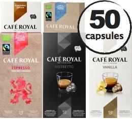 Pack d�couverte - 50 capsules Caf� Royal (dont Bio et Aromatis�) pour Nespresso