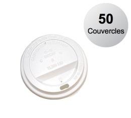50 couvercles pour gobelets am�ricains blanc 12 cl
