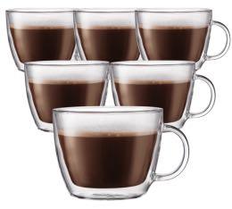 6 verres BODUM BISTRO Café latte 45cl (avec anse)