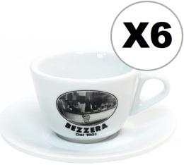 6 x tasses cappuccino + sous tasses Bezzera since 1901