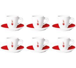 6 tasses espresso + sous tasses Omino rouge - Bialetti