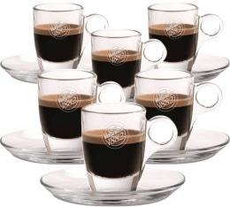 Lot de 6 Tasses et sous-tasses en verre Caff� Vergnano