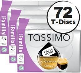 Dosette Tassimo Carte Noire Expresso Classic - 24 T-Discs - Lot de 3 (soit 72 T-Discs)