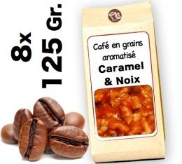Café grain aromatisé Caramel et Noix - 8x 125g