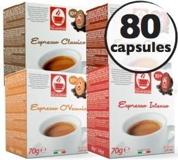 Pack découverte - 80 capsules compatibles Lavazza a Modo Mio® (Classico, Corposo, Intenso, o'Vesuvio)
