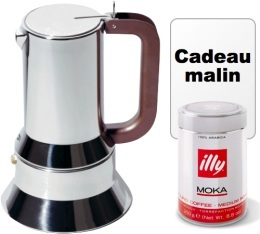 Cafeti�re italienne induction Alessi 9090 illyPack design� par Richard Sapper - 6 tasses