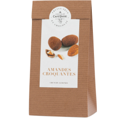 Sachet amandes croquantes enrobées de chocolat au lait et poudre de cacao - 125gr - Café Tasse