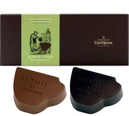 Assortiment 18 mini-tasses en chocolat au lait et chocolat noir - Café-Tasse