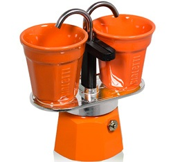 Cafetière italienne Bialetti Mini express 2 tasses + 2 bicchierini orange