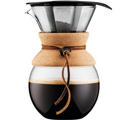 Cafeti�re filtre Bodum Pour Over li�ge et cuir - 8 tasses