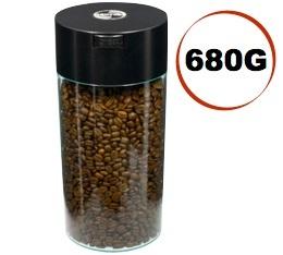 Boite conservatrice avec vide d'air Tightvac - 680gr/2.35L noire et transparente