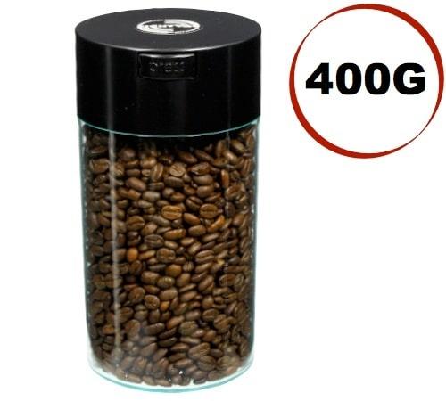 Boite conservatrice avec vide d'air Tightvac - 400gr/1.3L noir et transparente