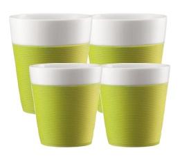 Lot de 4 tasses Bistro en porcelaine avec bande silicone verte (17cl + 30cl) - Bodum