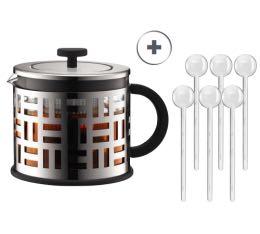Théière à Piston Eileen Tea Press 1.5l Bodum + 6 cuillères transparente Bodum