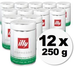 Caf� moulu Illy d�cafein�  - 12x250g
