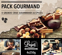 Pack Gourmand Caf�s Lugat (4 caf�s en grains x 250g)