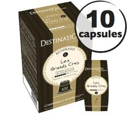 Capsules compatibles Nespresso Biospresso Grands Crus x10 Destination