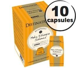 Capsules compatibles Nespresso Biospresso Moka Sidamas x10 Destination