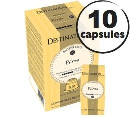 Capsules compatibles Nespresso Biospresso P�rou x10 Destination