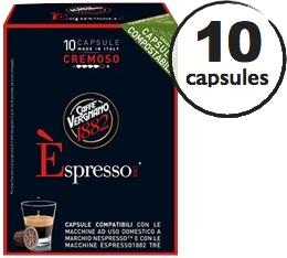Capsule Biodégradable/Compostable Espresso Cremoso Caffè Vergnano x10 pour Nespresso