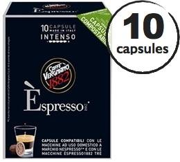 Capsule Biodégradable/Compostable Espresso Intenso Caffè Vergnano x10 pour Nespresso