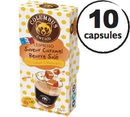 Capsules Saveur Caramel Beurre Sal� Columbus Caf� & Co x10 pour Nespresso