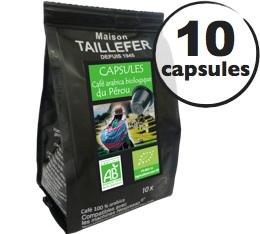 Capsules Arabica Bio du Pérou x 10 Taillefer pour Nespresso