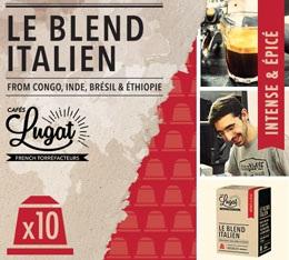 Capsules Le Blend Italien Caf�s Lugat x10 pour Nespresso