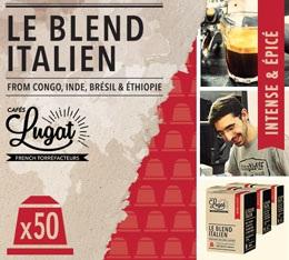 Capsules Le Blend Italien Caf�s Lugat x50 pour Nespresso