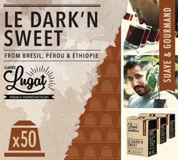 Capsules Le Dark'n Sweet Cafés Lugat x50 pour Nespresso
