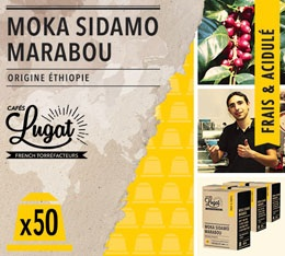 Capsules Moka Sidamo Marabou Cafés Lugat x50 pour Nespresso