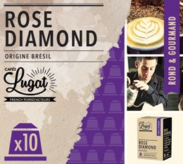 Capsules Rose Diamond Caf�s Lugat x10 pour Nespresso