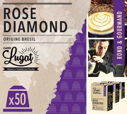 Capsules Rose Diamond Cafés Lugat x50 pour Nespresso