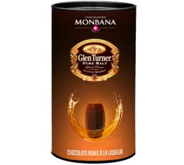 Bo�te de 25 chocolats noirs � la liqueur de Whisky Glen Turner - Monbana