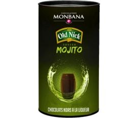 Boîte de 25 chocolats noirs à la liqueur Saveur Mojito Old Nick - Monbana