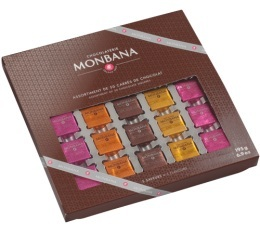 Coffret de 50 carr�s de chocolat 5 saveurs - Monbana