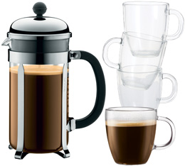 Cafetière à Piston Bodum Chambord 1 L + 4 tasses Bistro