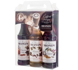 Coffret sirops Monin 3x25cl + 2 pochoirs Latte Art